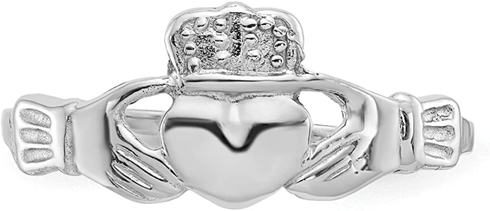 14k White Gold Irish Claddagh Celtic Knot Band Ring Size 7.00 Fine Jewelry For Women Gifts For Her