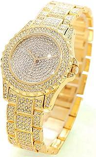 Luxury Women Watch Bling Bling Fashion Jewelry Crystal Diamond Rhinestone Ladies Watches Steel Band Round Dial