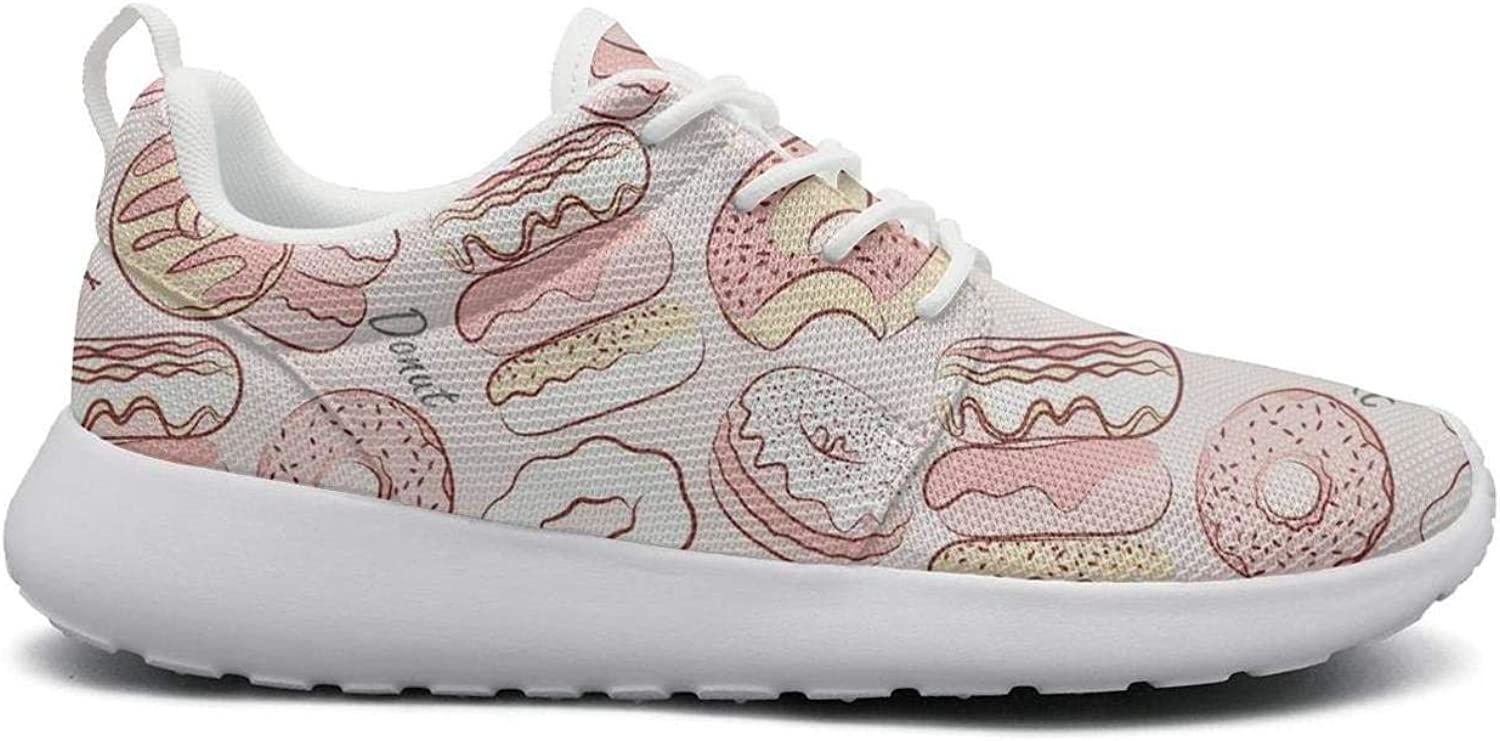 FEWW11 Women Cool Lightweight shoes Sneakers Bun Donut Pink Backdrop Canvas Upper Gym Lace-Up