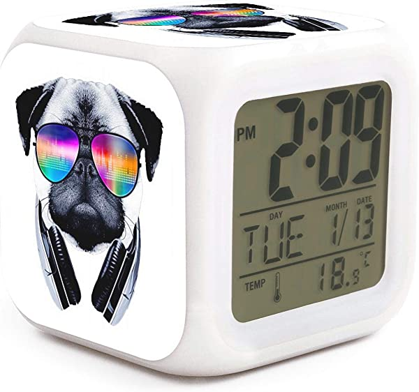 Pugs Sunglasses Cool Music Puppies Alarm Clock Displays Time Date And Temperature Soft Nightlight For Kids Home Office Bedroom Heavy Sleepers
