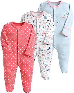 Pijama para bebé, pelele, paquete de 3, unisex, de algodón, 3 a 12 meses rojo rojo Talla:9-12 meses