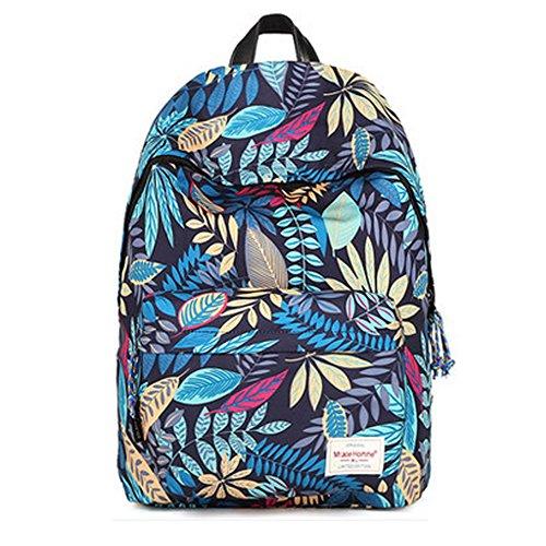 Durable Leaf Pattern School Bag Laptop Shoulder Bag Travel Backpack,Blue