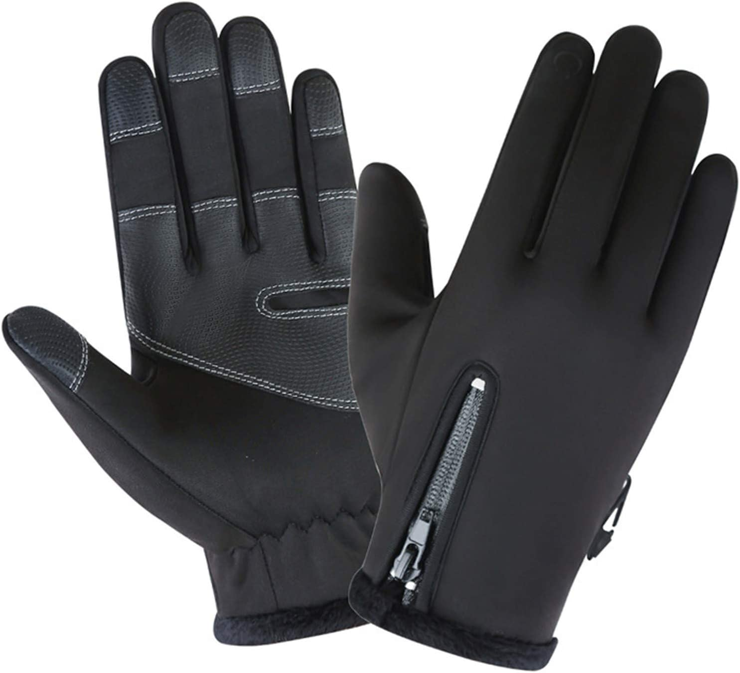 SSDXY Unisex Sports Zipper Winter Warm Gloves Thin Lightweight Full Palm Protection for Outside Sports Driving Cycling