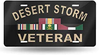 NCJEI NONGE Desert Storm Veteran with Ribbon License Plate License Frame Custom Metal License Plate for Car Decoration 6 Inch X 12 Inch
