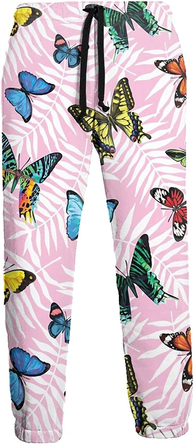 Mens Jogger Sweatpants Flying Colorful Butterflies Lightweight Workout Athletic Joggers Pants Trousers