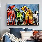 ganlanshu Cuadro Mural Animal Pintura Colorida Imagen del Perro en Lienzo para Sala de Estar decoración del hogar,Pintura sin marco-50X75cm