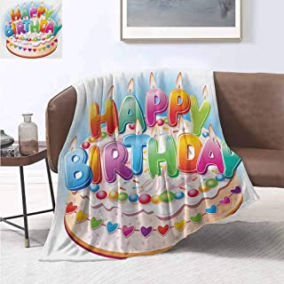 jecycleus Kids Birthday Luxury Special Grade Blanket Cartoon Style Happy Birthday Party Image Cake Candles Hearts Design Print Multi-Purpose use for Sofas etc. W70 by L90 Inch Multicolor