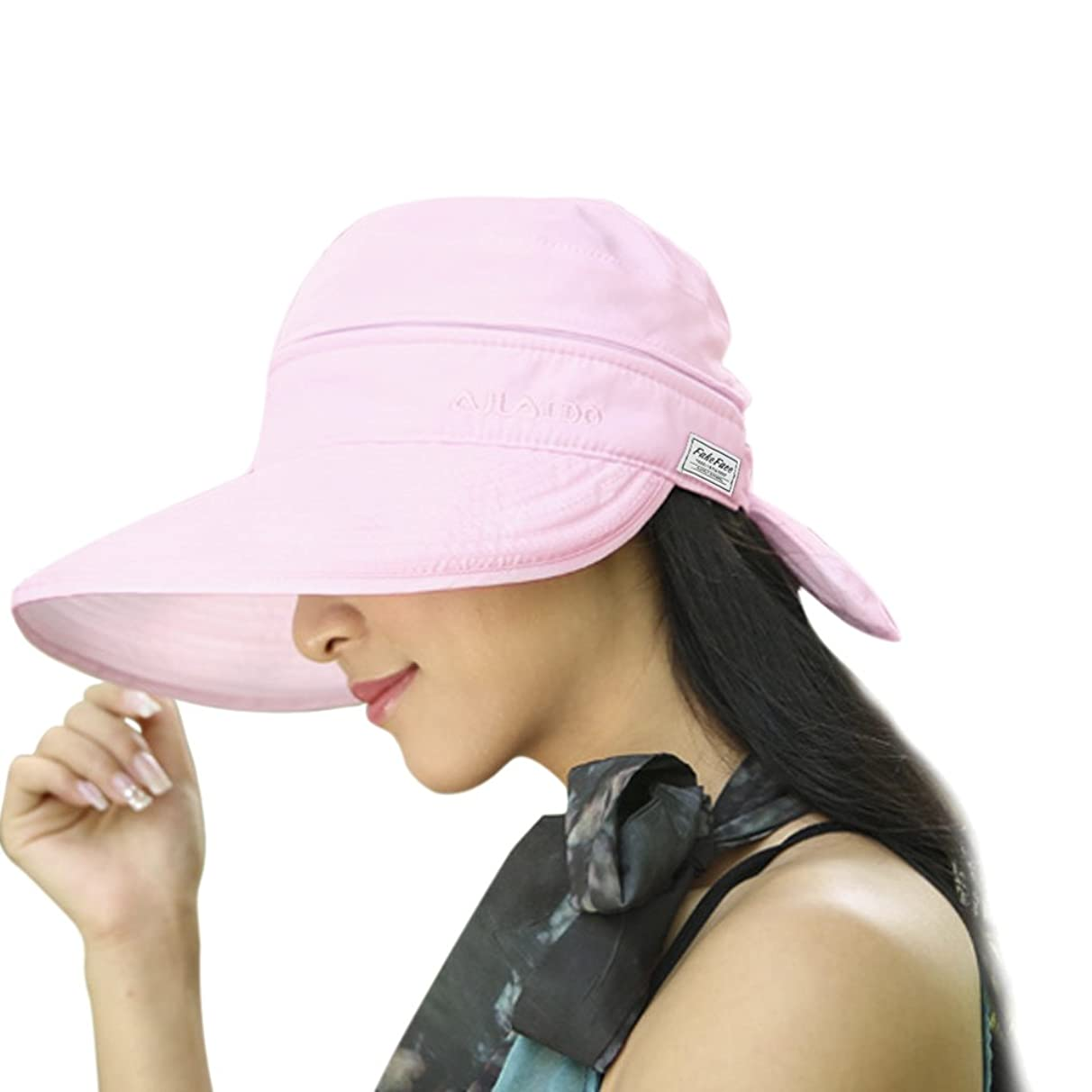 Womens 2in1 Wide Brim Summer Folding Anti-UV Golf Tennis Sun Visor Cap Beach Hat