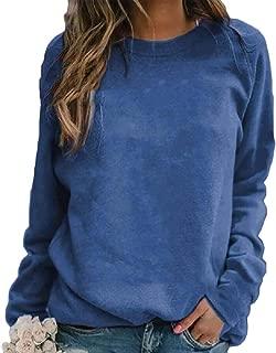 Womens Crewneck Long Sleeve Solid Top Casual Sweatshirt Pullovers Tops