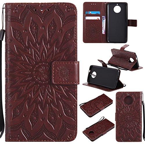 Hülle für Moto G5S Hülle Handyhülle [Standfunktion] [Kartenfach] [Magnetverschluss] Tasche Flip Case Cover Etui Schutzhülle lederhülle klapphülle für Motorola Moto G5S - DEKT031978 Braun
