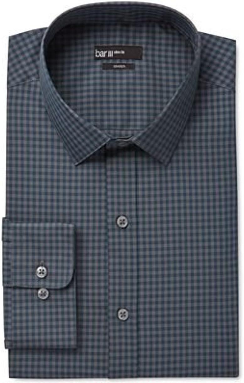 Bar III Slim-Fit Emerald Shadow Check Dress Shirt