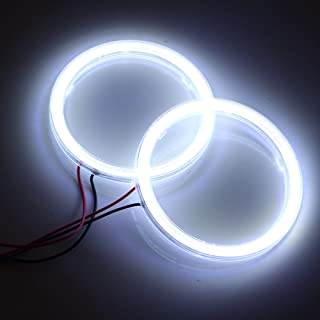 Qasim 2 Pcs White 80MM Car Angel Eyes Halo Rings COB Light Circle Ring Headlight Lamp with Plastic Cover 12V 24V