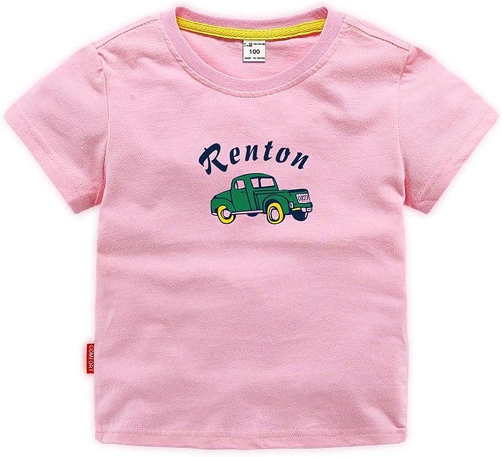 XINXINHAIHE Kids Boys Summer Short Sleeve Cartoon Car Print Casual Cotton T-Shirt Top (Color : Pink, Size : 140)