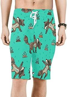 InterestPrint Mens Beach Board Shorts Funny Penguins Snowflakes Quick Dry Swim Trunks