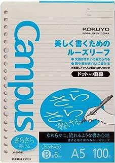 Kokuyo Campus Loose Leaf Paper - Sarasara - A5 - Dotted 6 mm Rule - 20 Holes - 100 Sheets