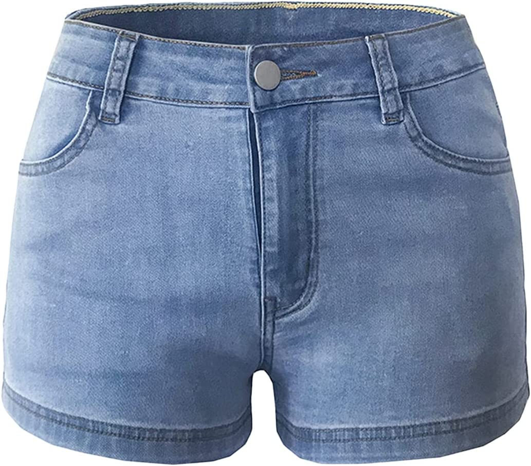 Women Solid Color Floral Embroidered Denim Shorts High Waist Cuffed Stretchy Jeans Short Vintage Summer Hot Short Pants (Light Blue,Medium)