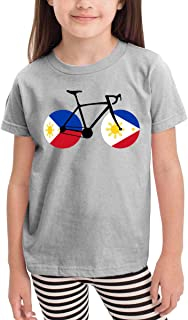 Toddler Bicycle Philippines Flag Cotton Short Sleeve Tee Shirt Size 2-6