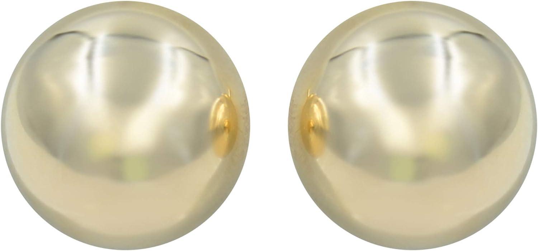 Rachel Koen Bead Ball Stud Earrings 14K Yellow 10mm