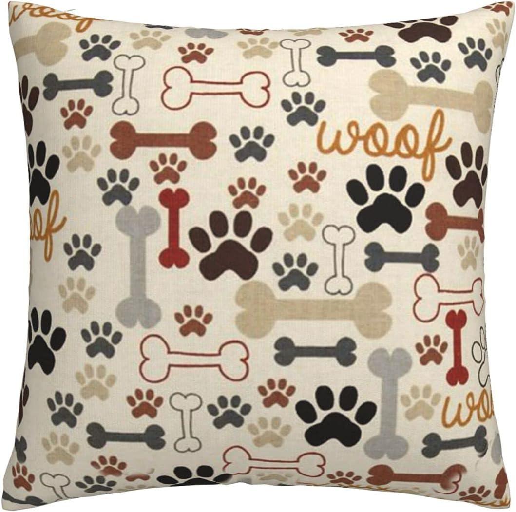 Be super welcome Cheap sale KAWAHATA Dog Bones Paw Throw Decorative Pillow Cas Cover Cushion