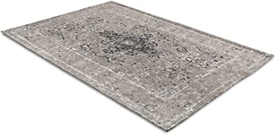 LIFA LIVING 80 x 150 cm Vintage Bedroom Living Room Rug with Oriental Pattern Beige Soft Chenille, Sand/Grey, 150 x 80 cm