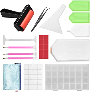 Complete 5D Diamond Painting Kit Tool, Tomorotec Diamond Painting Accessories, Light Drill Pens, Fix Tools Aligning Repair, Painting Roller, Storage Box, Plastic Tray Kits for Adults DIY Craft