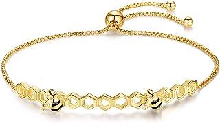 EVBEA Bee Bracelet for Women Ladies Rose Gold Adjustable Sterling Silver Bangle