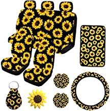 12PCS Sunflower Car Accessories Set,Sunflower Front and Rear Bench Seat Cover Full Set,Steering wheel cover,Car Armrest Cover,Car Vent,Car Coaster,Easy to Install,Universal Fit for Auto Truck Van SUV