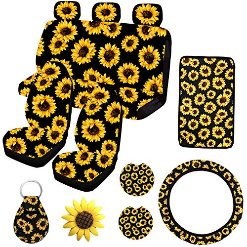 12PCS Sunflower Car Accessories Set,Sunflower Front and Rear Bench Seat Cover Full Set,Steering...