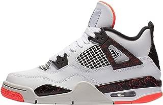 Jordan Kids Air 4 Retro Basketball Sneaker (GS) (White/Black/Bright Crimson)