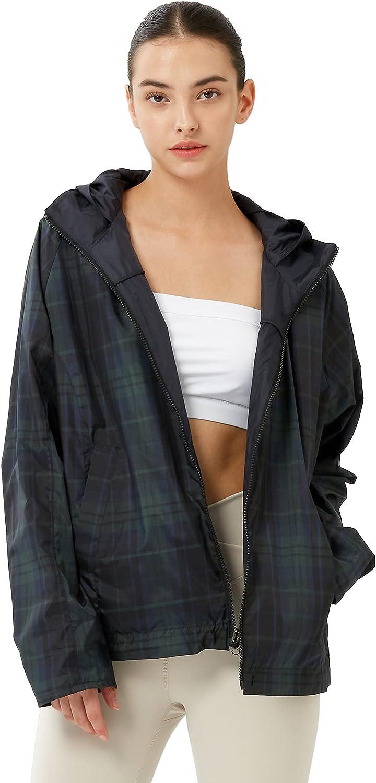 OFF THE DOOR Womens Reversible Lightweight Windbreaker Outdoor Anorak Spring Jacket