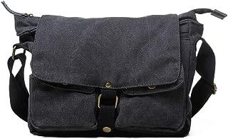 Mens Leather Bag Shoulder Style Vintage Washed Canvas Men Messenger Bag with Split Leather Trim Bag (Color : Grey, Size : S)