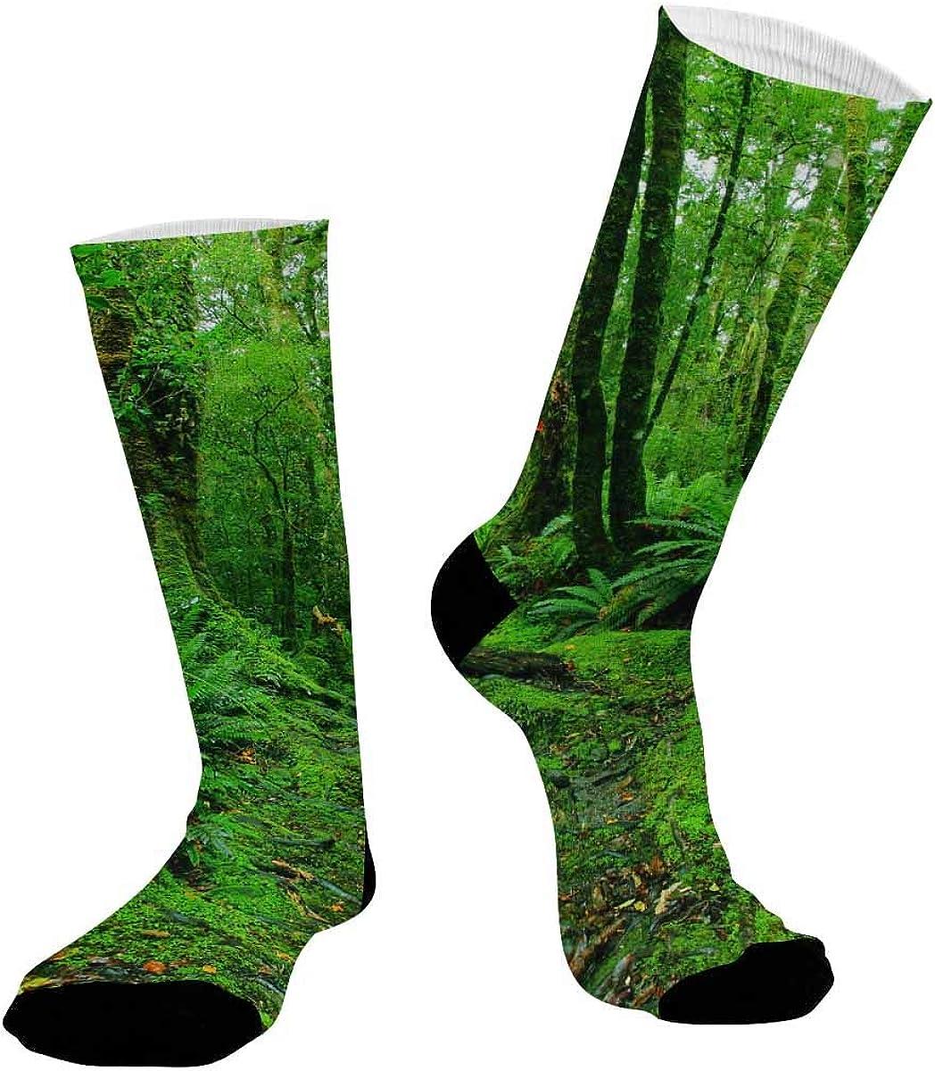 INTERESTPRINT Unisex Athletic Comfort Sublimated Crew Socks Rainforest Path