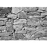 Vlies Fototapete PREMIUM PLUS Wand Foto Tapete Wand Bild Vliestapete - BLACK AND WHITE STONE WALL - Steinmauer Steine Steinwand Steinoptik 3D Große Steine Felsen - no. 008, Größe:350x245cm Vlies