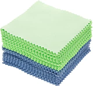 Umisu 100pcs Jewelry Cleaning Cloth Polishing Cloth for Sterling Silver Gold Platinum (Green + Blue)