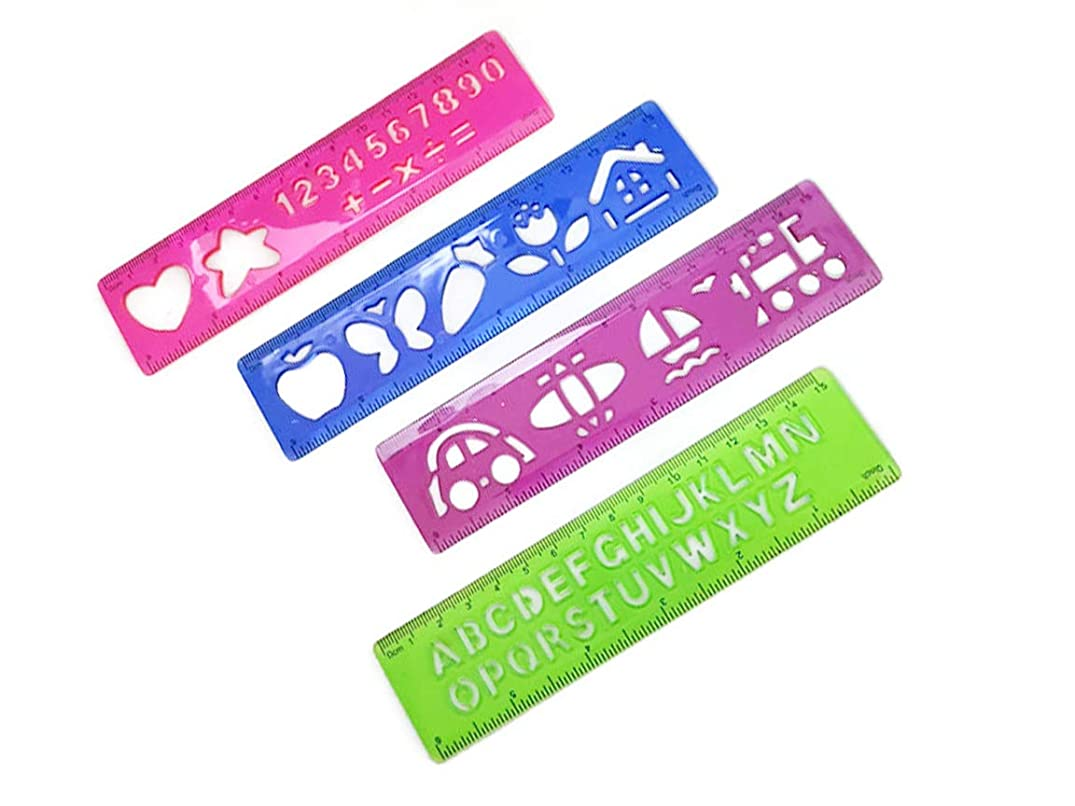 BUMOS Plastic Drawing Stencil Templates for Kids Crafts Rulers 6 inch Assorted Colors (4 Pcs), OR4
