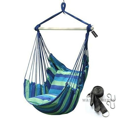 【WATER⑧BERRY】 ハンモックチェア ハンギング ロープ チェア ブランコ リゾート風 アウトドア 室内 青