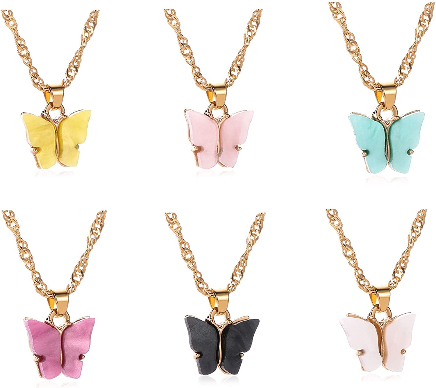 6 Sets Butterfly Pendant Necklace Set Colorful Acrylic Butterfly Chain Necklace Acrylic Animal Butterfly Drop Earrings Simple Charm Colorful Butterfly Cute Jewelry Gift for Woman Teens Girls