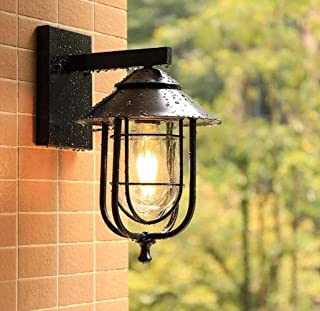 ZKS-KS Outdoor Wall Lantern, Black Vintage Wall Light Industrial Lighting Retro Metal Wall Lamp With Glass Lampshade Water...