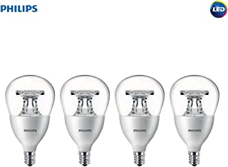 Philips LED Dimmable A15 Soft White Light Bulb with Warm Glow Effect 450-Lumen, 2700-2200-Kelvin, 5.5-Watt (40-Watt Equivalent), E12 Base, Clear, 4-Pack
