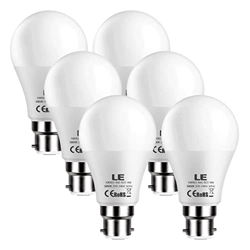 LE 6 Pack B22 LED Bulbs 60W Incandescent Bulbs Equivalent 9W 800lm A60 Daylight White 5000K BC Bayonet LED Light Bulbs