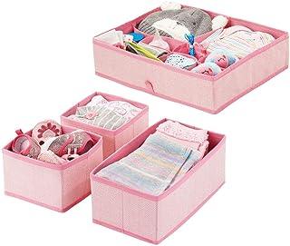 mDesign boîte de rangement pour chambre d'enfant en polypropylène (lot de 4) – bac de rangement pour accessoires de bébé –...