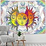 PPOU Blanco Negro Sol Luna Mandala Tapiz Colgante de Pared brujería Hippie Tela de Fondo Manta de Pared A7 130x150cm