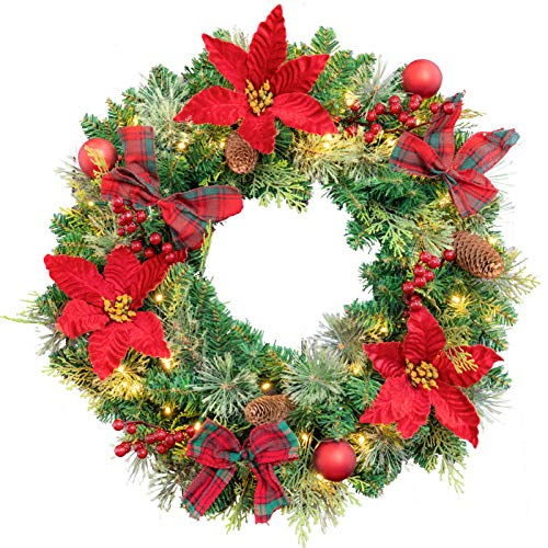 AMERZEST Pre-lit 24 Inch Christmas Wreath,Flocked with Red Berries and Balls,Pine Cone,Plaid Bows,50 Battery Operated White LED Lights with Timer,Artificial Holiday Decoration for Front Door Outdoor