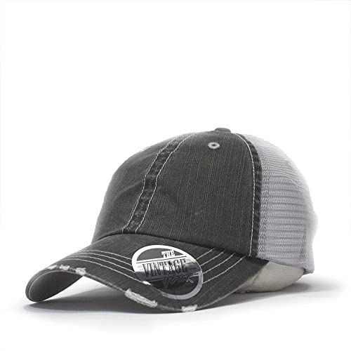 d950705f273 Vintage Year Washed Cotton Low Profile Mesh Adjustable Trucker Baseball Cap