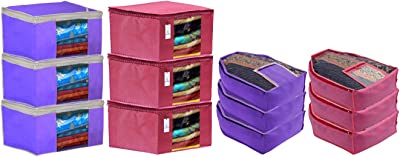 Kuber Industries Non Woven 6 Pieces Saree Cover/Cloth Wardrobe Organizer and 6 Pieces Blouse Cover Combo Set (Pink & Purple) CTKTC045397