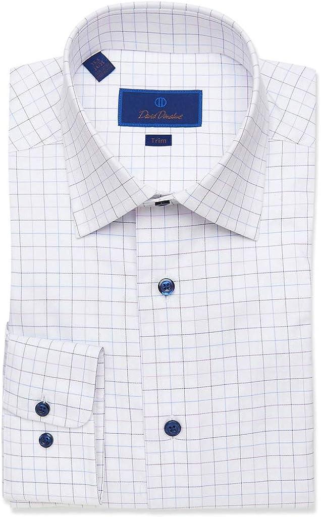 David Donahue Mens Trim Fit Long Sleeve Grid Check Dress Shirt, White/Lilac