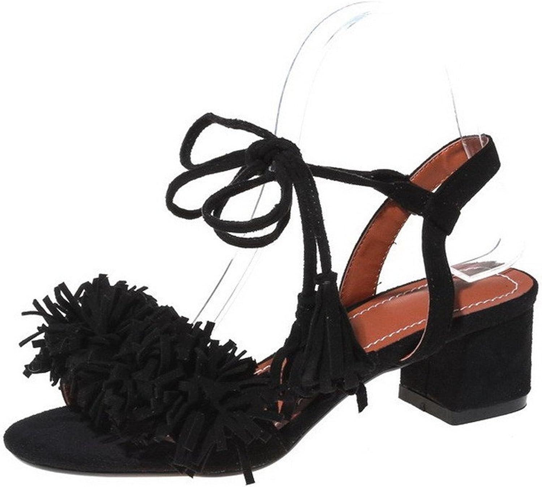 Spearss Elegant Women's Frosted Open Toe Kitten-Heels Lace-up Solid Sandals Hotsell