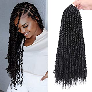 GX Beauty 6packs/lot Pre-twisted Passion Twist Crochet Hair Braids 18 Inch Pre-looped Ombre Passion Twist Braiding Hair Curly Spring Pre-twisted Synthetic Crochet Hair Extensions(1B#)