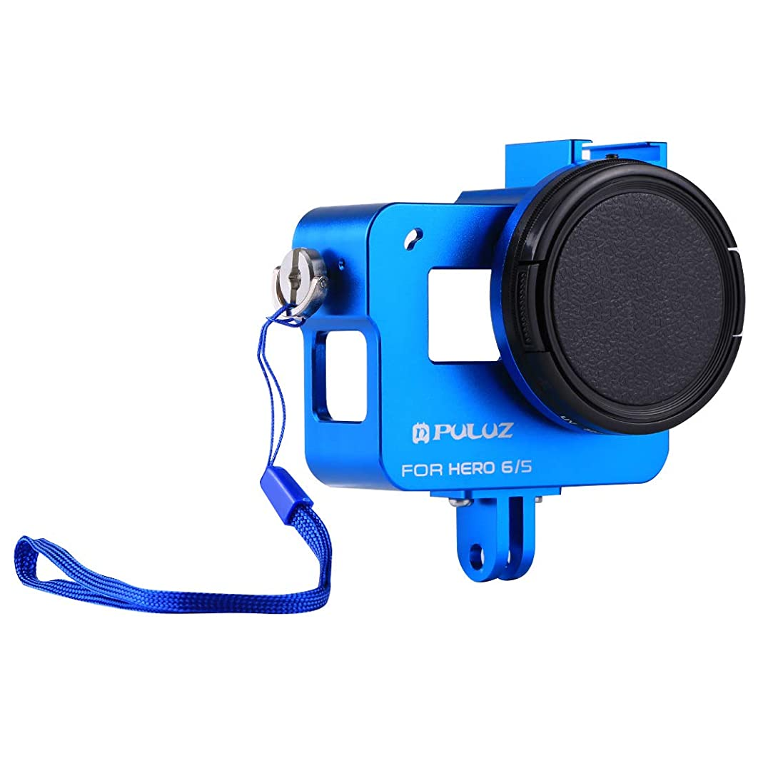 Camera Accessories Housing Shell CNC Aluminum Alloy Protective Cage with 52mm UV Lens for GoPro Hero(2018) /7 Black /6/5(Black) (Color : Blue)