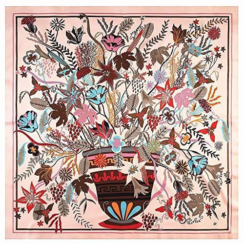 DFHTR 130 Cm * 130 Color Boceto Planta Maceta Bufanda De Seda Bufanda De Mujer Chal Bufanda Cuadrada Toalla De Protección Solar
